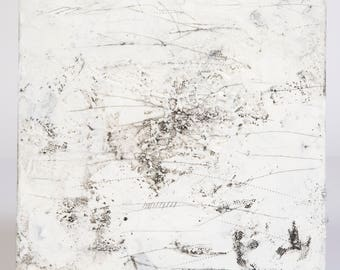 "Black and White Abstract Encaustic Painting // ""Frost"""