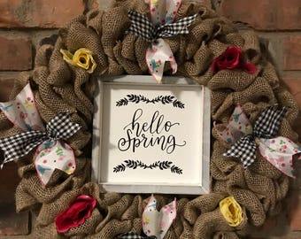 "Hello Spring 16"" Burlap Wreath Door Decor"