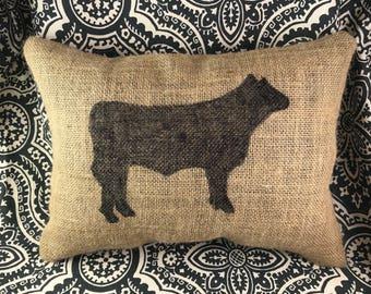 Cow Burlap Pillow, Farm Pillow, Farm House Pillow, Burlap Pillow, Cow Pillow, Gift For Her, Gift For Him, Rustic Decor, Throw Pillow