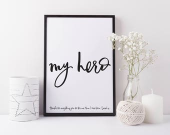 Father's day gift - personalised Gift for Dad - Gift for Mum - Parents gift - Personalised print - My hero print - Gift for Husband