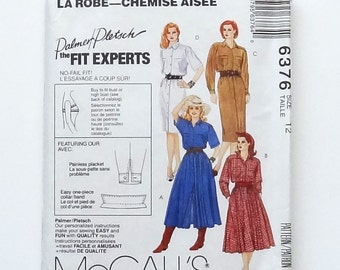 McCall's Front Button Shirtdress Sewing Pattern #6376 - UNCUT - Size 12 (Bust 34) - Straight or Full Skirt - Palmer/Pletsch Design