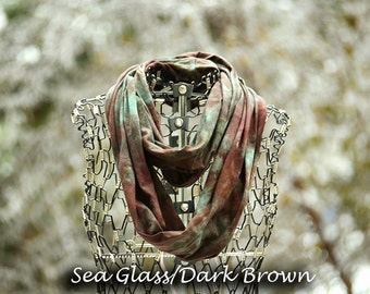 Infinity Scarf-Cotton Jersey Scarf-Marble Abstract Scarf-Dark Brown and Sea Glass OR Pick your two colors