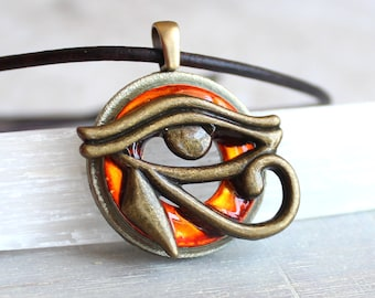 orange eye of horus necklace, mens jewelry, all seeing eye, mens necklace, unique gift, Egyptian god, Egyptian symbol, mens gift, the Wadjet