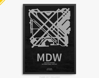 MDW Airport, Chicago Midway International Airport, Chicago Illinois, MDW Airport Poster, Midway Airport, Chicago IL, Midway Airport Poster