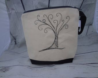 Embroidered Cotton Canvas Project Bag - Zippered