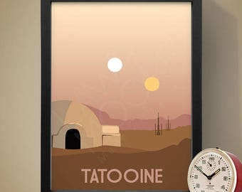 Tatooine Star Wars Travel Print, Travel poster, Movie poster, Retro movie art, Minimalist poster, Print