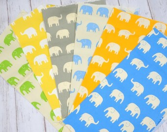 Elephat fabric Print scrap set of 6  pieces sc07