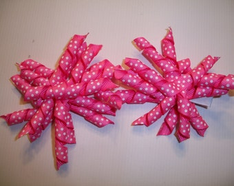 The Hair Bow Factory Pink with White Dots Korker Hair Bows Set of 2