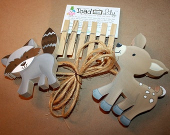 2 Forest Animals Wooden Kids Wall Art Display Clips for Kids Bedroom Baby Nursery Playroom AC0046