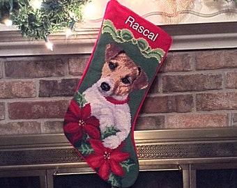 Jack Russell Dog Stocking-Personalized, Jack Russell needlepoint stocking, Christmas stocking, dog stocking, Jack Russell Terrier Stocking
