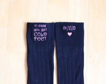 Wedding Socks. Monogrammed Socks. Cold Feet Grooms socks. Thoughtful Groom gift. Funny Wedding Gifts. Sock Monograms. F21