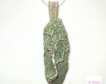 Wirework Fuchsite Mica Tree Of Life Pendant, Tree Of Life Jewellery, Tree Pendant, Wire Wrapped Pendant, Gemstone Pendant, Healing Stone