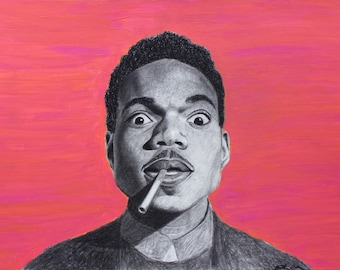 Chance the Rapper black charcoal PRINT