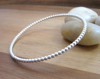 Sterling Silver Bangle Bracelet Stackable Bracelet Layering Bracelet Silver Bracelet Minimalist Jewelry Minimalist Bracelet - Dotted Line