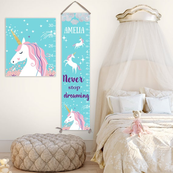 Unicorn Growth Chart - Personalized Canvas Growth Chart, Unicorn Nursery, Unicorn Birthday, Unicorn Gift, Unicorn Party - GC4337A