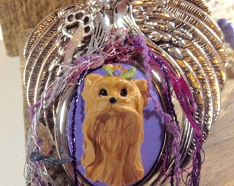 Yorkshire Terrier Yorkie Polymer Clay Dog Christmas Ornament with Wings converts to Pendant - Free Shipping to USA