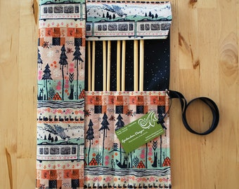 Knitting Needle Case / Organizer / Holder for Straight Needles - Tokyo Train Ride Fabric with Navy Sprinkles Lining