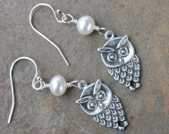 Hootie Owl & Pearl Moon Earrings - Oxidized silver charms -Free Shipping USA