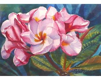 Pink Plumeria Original Watercolor Hawaii Tropical Flower Painting 5x7 Art by Janet Zeh Original Art