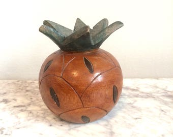 Carved Wooden Pineapple Candleholder