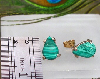Earrings: Malachite Teardrop ~ Green Pear Shaped Gemstone ~ Sterling Silver Post Earrings