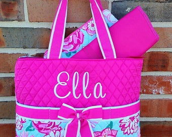Personalized Diaper Bag - Embroidered Diaper Bag - Girl Diaper Bag - Floral Diaper Bag - Monogrammed Diaper Bag Set - Quilted Diaper Bag