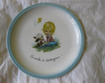 vintage 60s 70s plate gigi WIDE EYED girl display collector