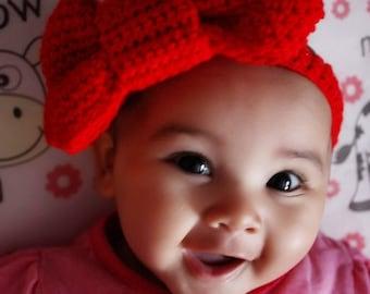 3 to 6m Big Red Bow Headband Baby Girl Headband Baby Headband Infant Girl Red Headband Infant Photo Prop