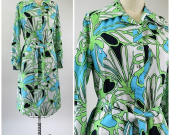 1970s Mod Dress Abstract Floral White and Blue and Green and Black Button Front Shirt / Shift Dress with Tie Waist Size Small