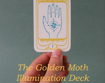 "ORACLE DECK + HANDBOOK ""The Golden Moth Illumination Deck"" // tarot deck / tarot cards / tarot card deck / pagan cards / pagan tarot"