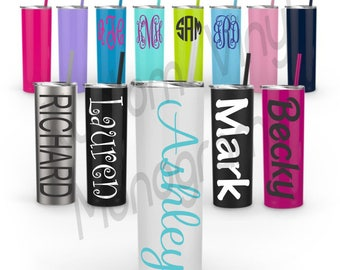 Monogrammed 20 oz Skinny Steal Tumbler with Straw / Maars Skinny Steal Tumbler / Personalized Stainless Steal 20 oz Skinny Tumbler / 20 oz