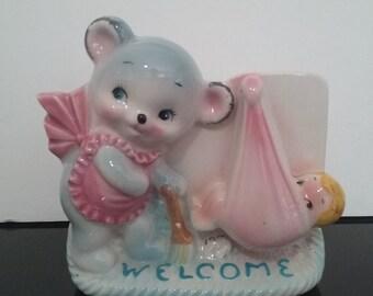 "Vintage Rubens Originals - ""Welcome"" New Baby - Nursery Planter - Japan"