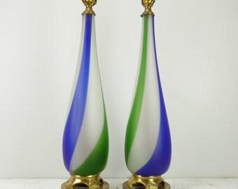 Grande paire de lampe Murano Massimo Vignelli Venini Sigaro Mid Century Seguso 28''