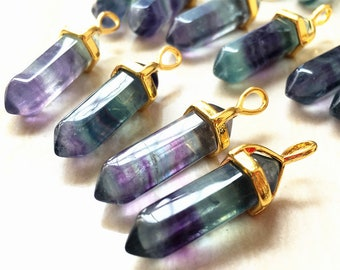 Rainbow Fluorite Stone Healing Double Terminated Point Pendant Electroplated in Gold Bail // Pencil Point Pendant Wholesale - 1, 5, 10, 30