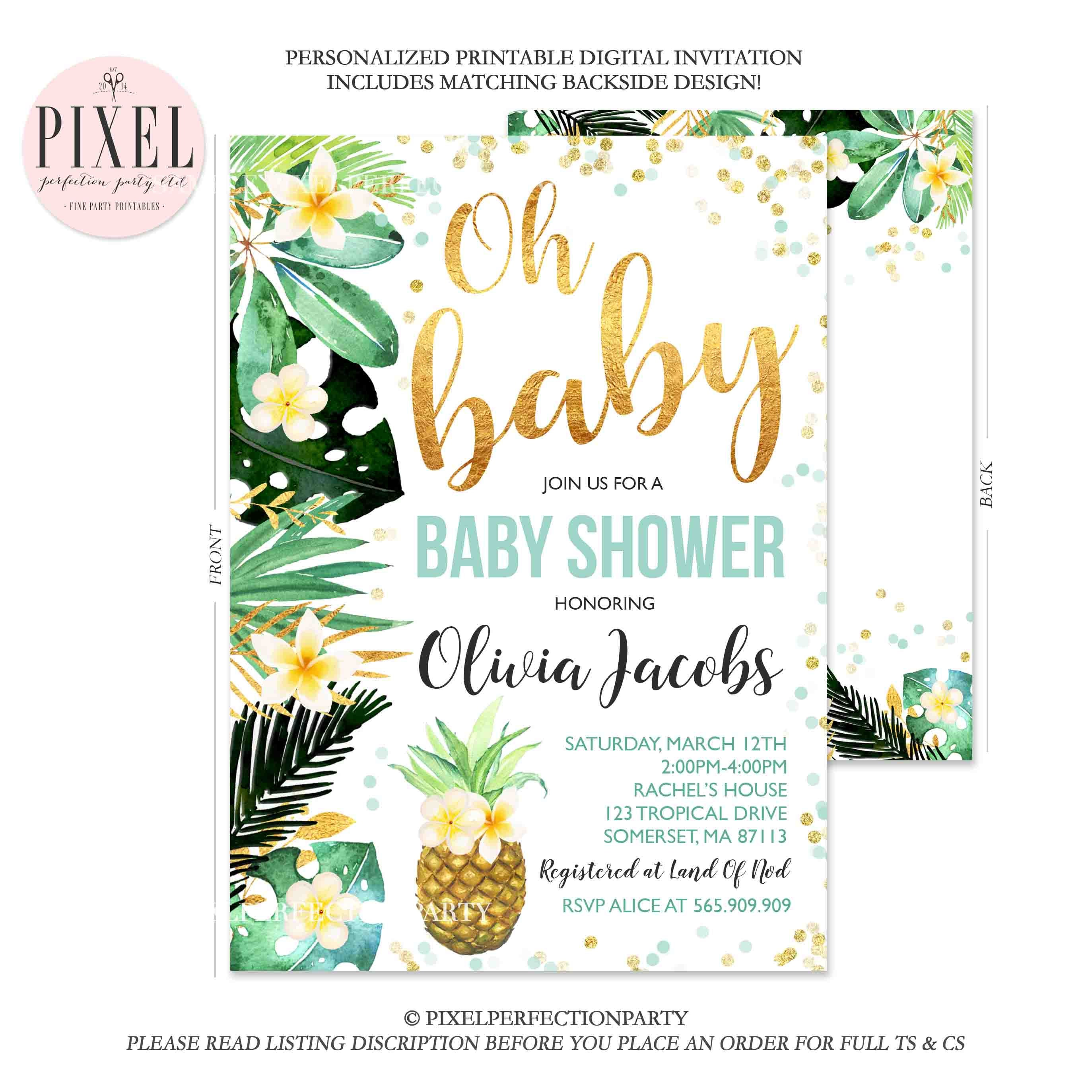 Tropical Baby Shower Invitation Pineapple Baby Shower