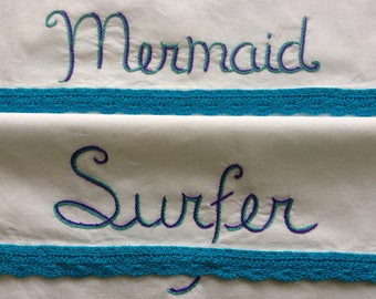 Mermaid Surfer, Pillowcases, Hand embroidered, Nautical, Beach house, House gift, Couples gift, Girlfriend gift, Boho bedroom