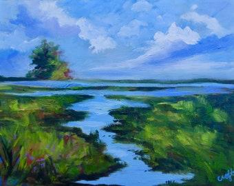 Marsh Oil Painting Coastal Art Modern Impressionist Original Oil Landscape Painting by Rebecca Croft