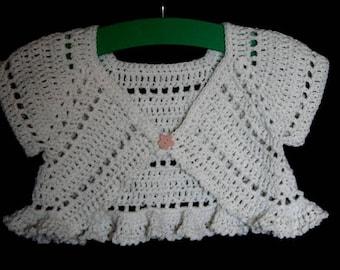 Baby cotton Bolero size 2/3 years old hand made crochet
