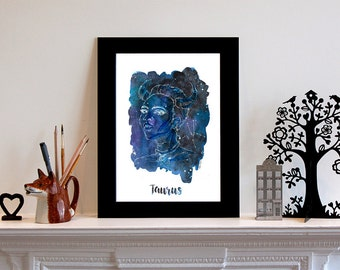 Taurus Zodiac Constellation Print // Star Sign // Art Print // Fashion Illustration // Fashion Print // Gift for Taurus // Gift for Her
