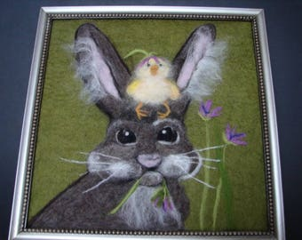 Needle Felted Wool Painting, Wool Painting, Rabbit Painting, Bunny Painting, Needle Felted Rabbit, Easter Painting, Spring Painting