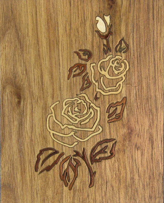 """4'x 5"""" Marquetry Project Kit - Rose"""