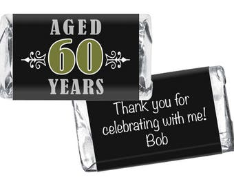 Set of 42 - Vintage Aged to Perfection Miniatures Candy Bar Labels - 40th, 50th, 60th, 70th, 80th Any Age - Adult Birthday Favors