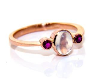 Moonstone ruby ring, moonstone rose gold ring, rose gold moonstone ring, gold moonstone ring, moonstone ruby rose gold ring