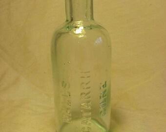 c1890s Hall's Catarrh Cure , Aqua Glass Cork Top Patent Medicine Bottle, Great for Wedding Decor or Country Primitive Decor No. 2