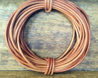 Natural Round Leather Cord | 2mm | 5 metres (5.47 yards)