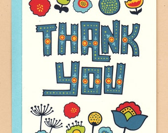 Mod Flowers Thank You Card