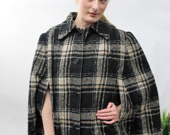 1960s Black Check Wool Cape One Size