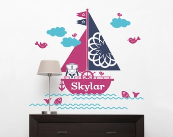 Sailboat Girl Name Wall Decal Personalized Nautical Baby Girl Nursery Ocean Wall Stickers Sea Life Room Decor
