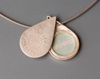 Picture locket, drop shaped, Sterling Silver, Sun, sterling silver picture Locket