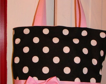 Pretty Pink & Black Polka Dot BAG  Purse Tote BAG or Diaperbag